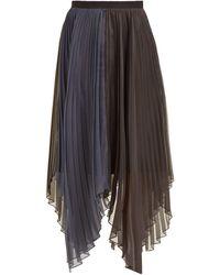 Marina Moscone Pleated Organza-voile Midi Skirt - Black