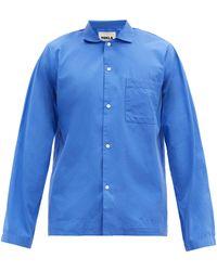 Tekla Patch-pocket Organic-cotton Pyjama Shirt - Blue