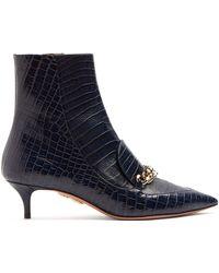 Aquazzura - Editor 45 Crocodile Effect Leather Ankle Boots - Lyst