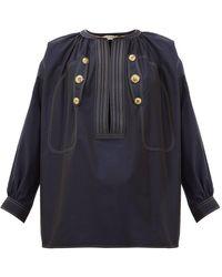 Givenchy セイラー クロップドスリーブ コットントップ - ブルー