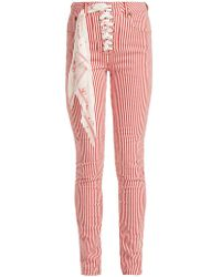 Rockins Lace Up High Rise Jeans - Red