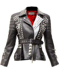 Alexander McQueen Studded Leather Biker Jacket - Black