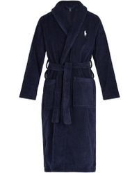popular stores cheap for sale latest style of 2019 Mid Weight Cotton Terry Robe - Blue