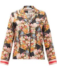 Borgo De Nor Eden Crystal-button Floral-print Silk Blouse - Multicolour