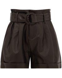 FRAME High-rise Paperbag-waist Leather Shorts - Black