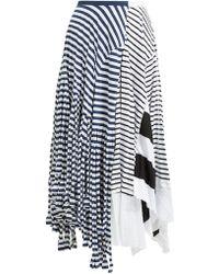 Loewe Contrasting Stripe Print Cotton Blend Skirt - Blue