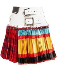 Chopova Lowena Leather-belted Mixed-print Pleated Skirt - Red