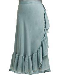 Loup Charmant - Ruffled Wrap Cotton Midi Skirt - Lyst