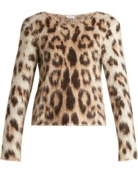Loewe - Leopard-print Mohair Jumper - Lyst