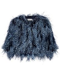 Mary Katrantzou Spike Feather Cropped Jacket - Blue