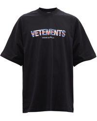 Vetements オーバーサイズ プリント コットンtシャツ - ブラック