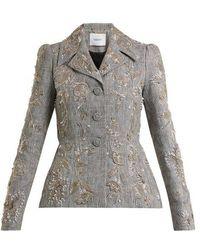 Erdem - Galice Bead-embellished Checked Linen Jacket - Lyst