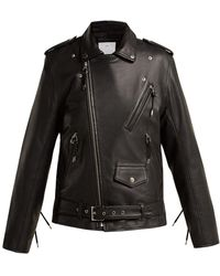 Toga - Lace Up Leather Biker Jacket - Lyst