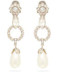 Miu Miu Crystal And Faux-pearl Drop Clip Earrings - Metallic