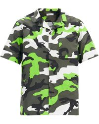 Valentino Chemise bowling à imprimé camouflage - Vert