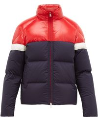 Moncler Konic Contrast-panel Quilted-down Coat - Blue
