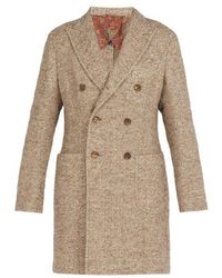 Etro - Double-breasted Tweed Overcoat - Lyst