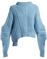 Stella McCartney Cable Knit Cropped Sweater - Blue