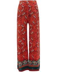 Chufy Najima Peacock-print Wide-leg Pants - Red