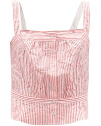 Thierry Colson Rossa Crinkled Stripe Cotton-sateen Top - Pink