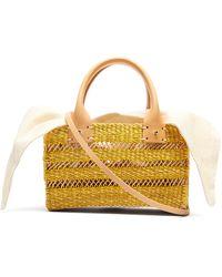 Muuñ Carrie Canvas And Woven-straw Bag - Multicolour