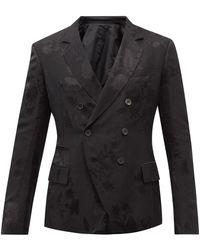 Haider Ackermann フローラルジャカード ダブルスーツジャケット - ブラック