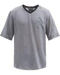 Giorgio Armani - Vネック オーバーサイズ シアサッカーtシャツ - Lyst