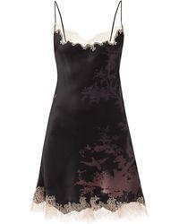 Carine Gilson Bird-print Silk-satin Short Slip Dress - Black