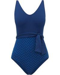 Eres Scoop-neck Jacquard-briefs Swimsuit - Blue