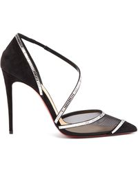 Christian Louboutin Chiara Crystal-embellished Suede Slingback Pumps - Black