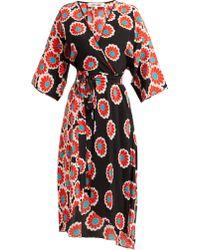Diane von Furstenberg Robe portefeuille en soie à imprimé fleurs Eloise - Noir