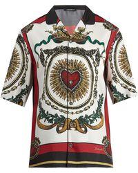 Dolce & Gabbana - Heart-print Short-sleeved Silk Shirt - Lyst