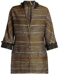 Etro - Contrast Collar And Cuff Tweed Coat - Lyst