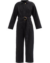 B Sides Clement Belted Denim Wide-leg Cropped Jumpsuit - Black