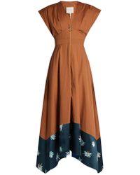 ROKSANDA - Mituva Deep V Neck Butterfly Hem Poplin Dress - Lyst