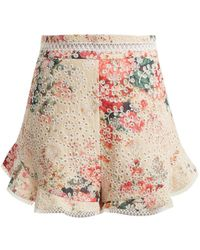 Zimmermann - Laelia Diamond Floral-print Cotton Shorts - Lyst