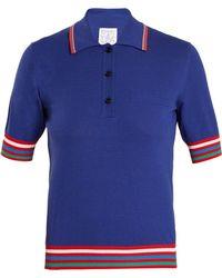 Stella Jean Contrast Striped Knit Polo Shirt - Blue
