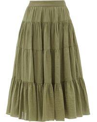 Loup Charmant Fontelli Tiered Organic-cotton Midi Skirt - Green