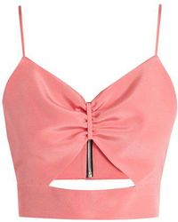 Racil - Sexy Cut-out Silk Cropped Top - Lyst