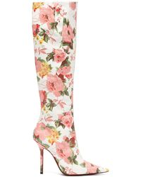 Vetements - Floral Print Leather Knee High Boots - Lyst