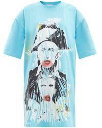 Charles Jeffrey LOVERBOY フェイス ロゴ オーバーサイズコットンtシャツ - ブルー