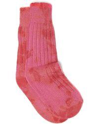 The Elder Statesman Yosemite Tie-dyed Cashmere Socks - Pink