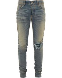 Amiri Leopard-print Calf Hair-striped Distressed Jeans - Blue