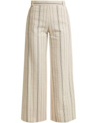 See By Chloé - High-rise Striped Cotton-blend Trousers - Lyst