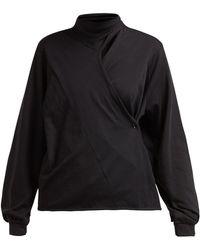 Lemaire Asymmetric Batwing Sleeve Cotton Blouse - Black