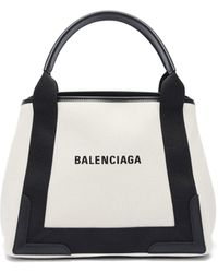 Balenciaga Cabas S Logo-print Leather-trim Canvas Tote Bag - Black