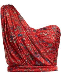 Rebecca de Ravenel - Dotty Print One Shoulder Silk Bustier Top - Lyst
