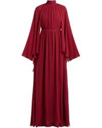 Giambattista Valli Robe de soirée en georgette de soie froncée à cape - Rouge