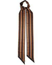 Fendi Striped Logo-print Silk-satin Scarf - Multicolor