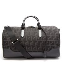 Fendi Ff-logo Jacquard Leather-trim Canvas Holdall - Black